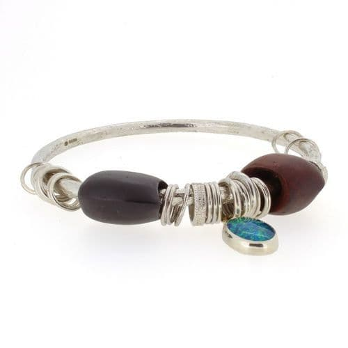 Blue green Opal triplet cabochon bangle silver with carved wooden beads 4mm rod